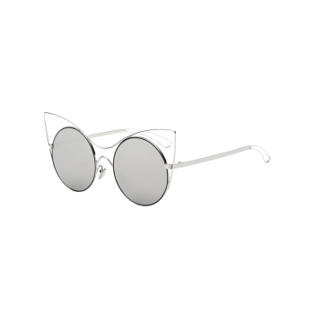 Cool Hollow Out Leg Cat Eye Mirror Sunglasses