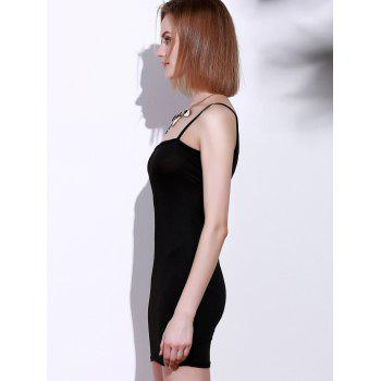 Spaghetti Strap Sleeveless Cut Out Mini Dress - BLACK BLACK