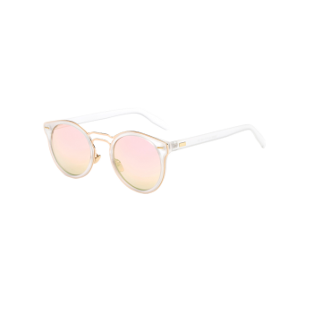 Travel Double Nose Bridges Oval Mirrored Sunglasses