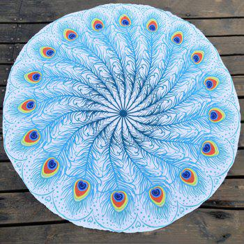 Peacock Feather Fan Print Round Beach Throw