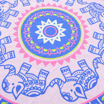 Indian Elephant Print Chiffon Round Beach Throw - ONE SIZE ONE SIZE
