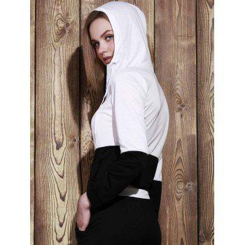 Trendy Hooded Color Block Zippered Jacket and Solid Color Pants Twinset - BLACK M