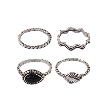 Rhinestone Alloy Water Drop Circle Rings