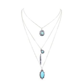 Bohemian Faux Turquoise Layered Pendant Necklace - SILVER SILVER