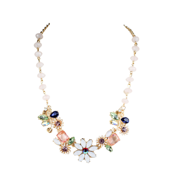 Faux Crystal Flower Necklace
