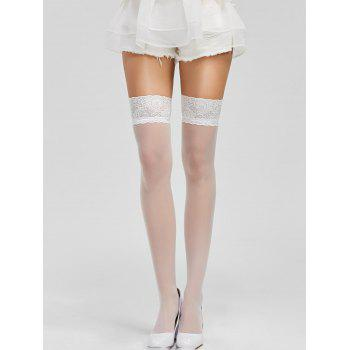 Lace Panel Elastic Sheer Stockings