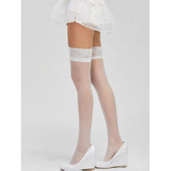 Lace Panel Elastic Sheer Stockings - ONE SIZE ONE SIZE