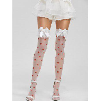 Lace Panel Hearts Print Stockings
