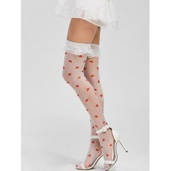 Lace Panel Hearts Print Stockings - ONE SIZE ONE SIZE