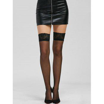 Lace Panel See Thru Over Knee Stockings