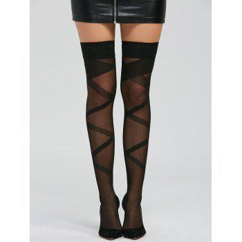 Over Knee Criss Cross Graphic Sheer Stockings