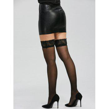Over Knee Lace Panel See Thru Stockings - ONE SIZE ONE SIZE