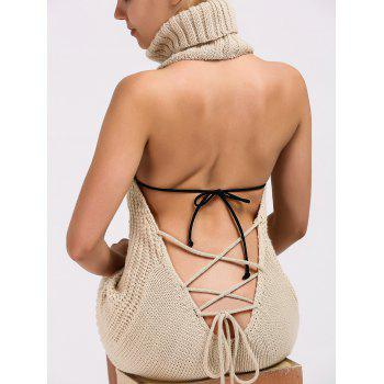 Turtleneck Backless Cable Knit Sleeveless Jumper Dress - L L
