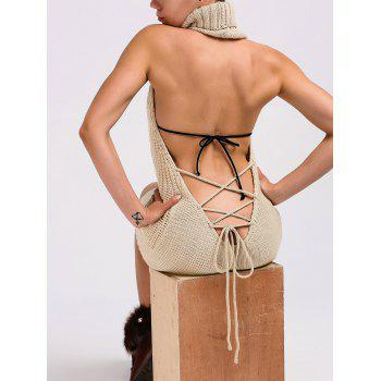 Turtleneck Backless Cable Knit Sleeveless Jumper Dress - LIGHT KHAKI L