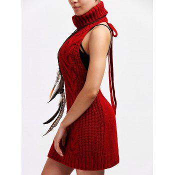 Backless Pull à col roulé Robe tunique - Rouge S