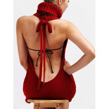 Backless Turtleneck Lace Up Jumper Dress - RED S