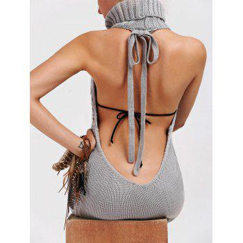 Backless Turtleneck Lace Up Jumper Dress - L L
