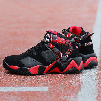 Colour Block Breathable Athletic Shoes - RED/BLACK 43