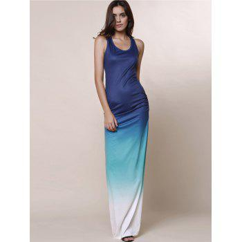 Scoop Neck Sleeveless Ombre Color Maxi Sundress - BLUE M