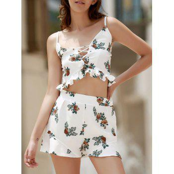 Stylish Cami Floral Tank Top and Ruffles Shorts Women's Suit