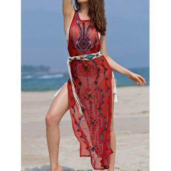 Bohemian Embroidered Beading High Slit Women's Tank Dress