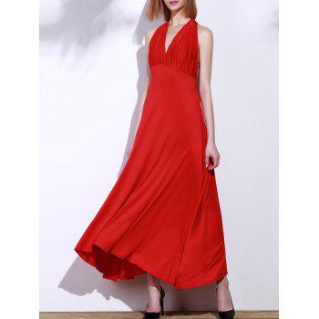 Backless Party Formal Halter Maxi Prom Evening Dress - RED M