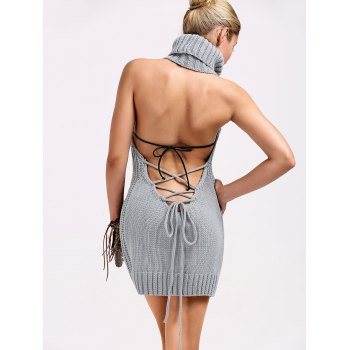 Turtleneck Backless Cable Knit Sleeveless Jumper Dress - GRAY M