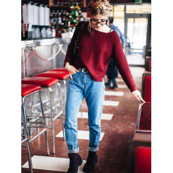 Boat Neck Loose-Fitting Ribbed Sweater - WINE RED ONE SIZE