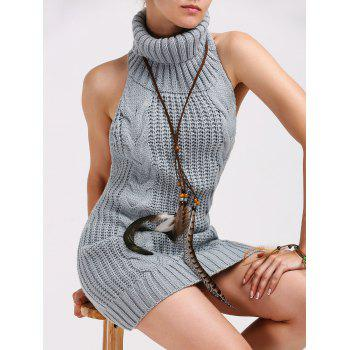 Turtleneck Backless Cable Knit Sleeveless Jumper Dress - GRAY L
