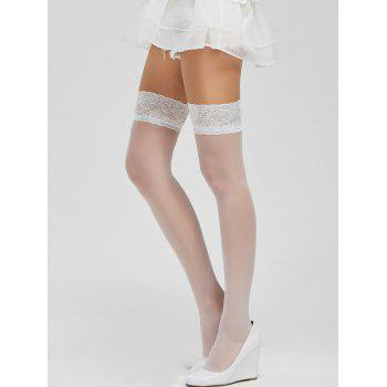 Lace Panel Elastic Sheer Stockings - WHITE ONE SIZE