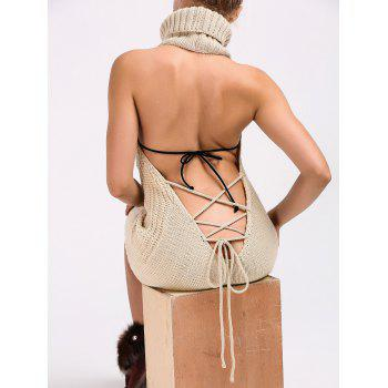 Turtleneck Backless Cable Knit Sleeveless Jumper Dress - LIGHT KHAKI XL