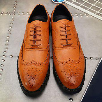 Lace Up Wingtip Formal Shoes - Brun 40