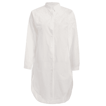 Casual High Low Embroidered Shift Shirt Dress - WHITE ONE SIZE