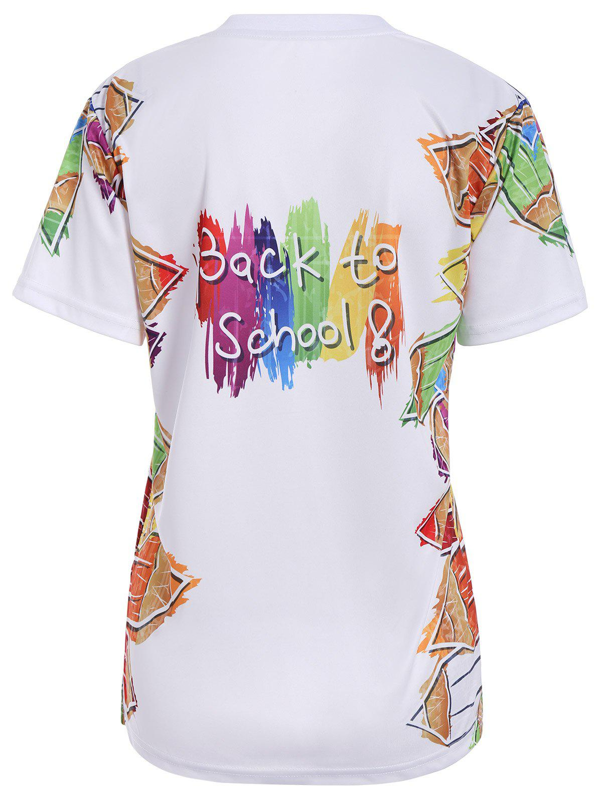 2018 back to shool graphic print t shirt white l in tees for Shirts with graphics on the back