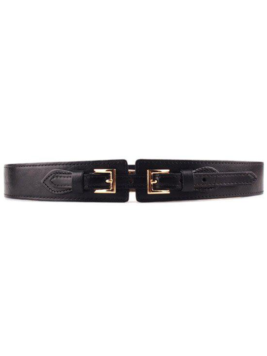 Stylish Double Buckle Elastic Waistband For Women - BLACK