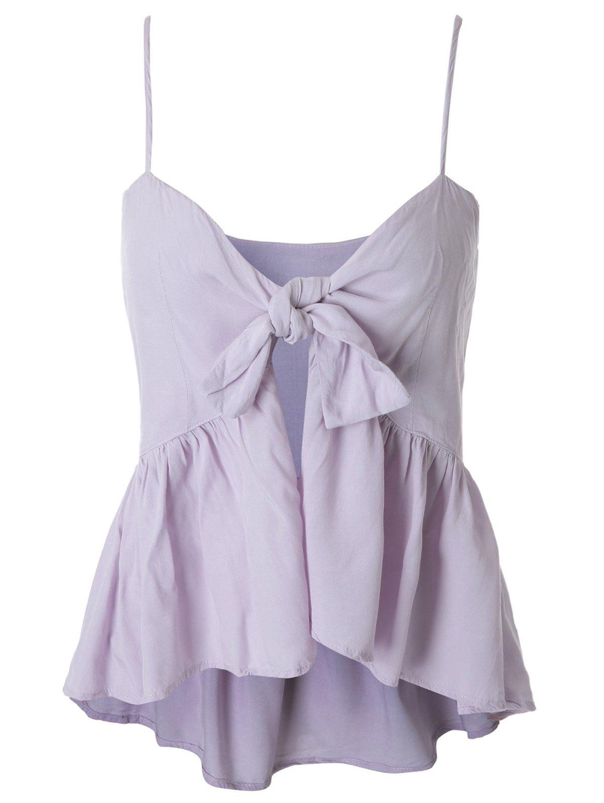 Spaghetti Strap Tie Knot Slit Peplum Tank Top - LIGHT PURPLE M
