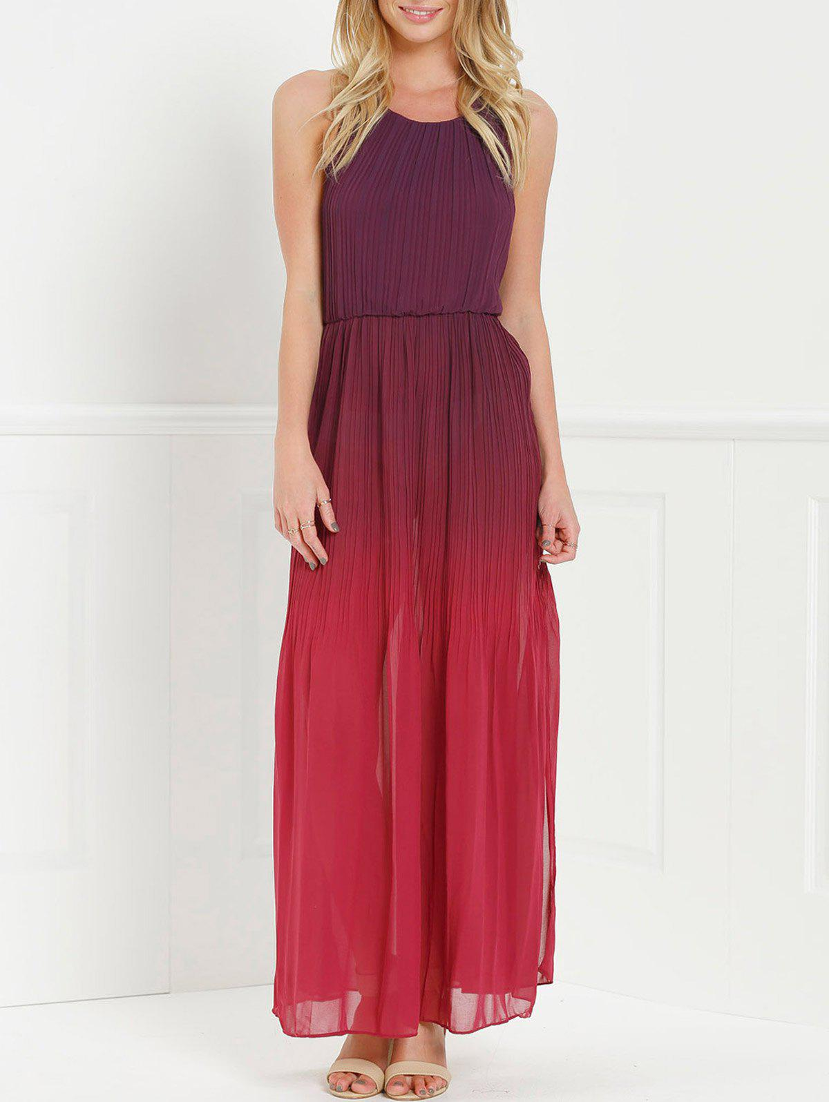 Halter Sleeveless Ombre Chiffon High Slit Maxi Party Dress - RED S