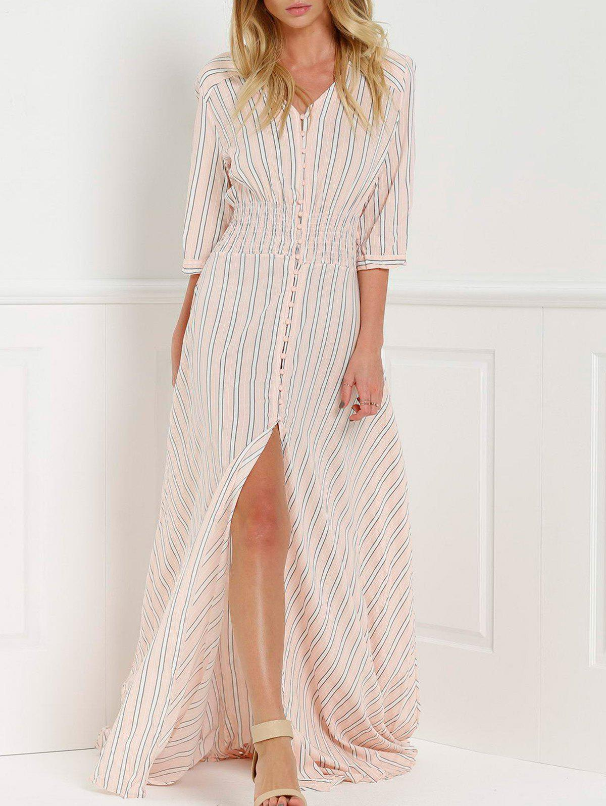 V-Neck Stripe Slit Floor Length Maxi Shirt Dress - PINK M