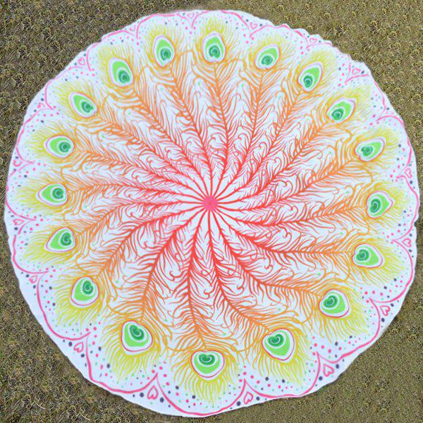Peacock Feather Fan Print Round Beach Throw - YELLOW ONE SIZE