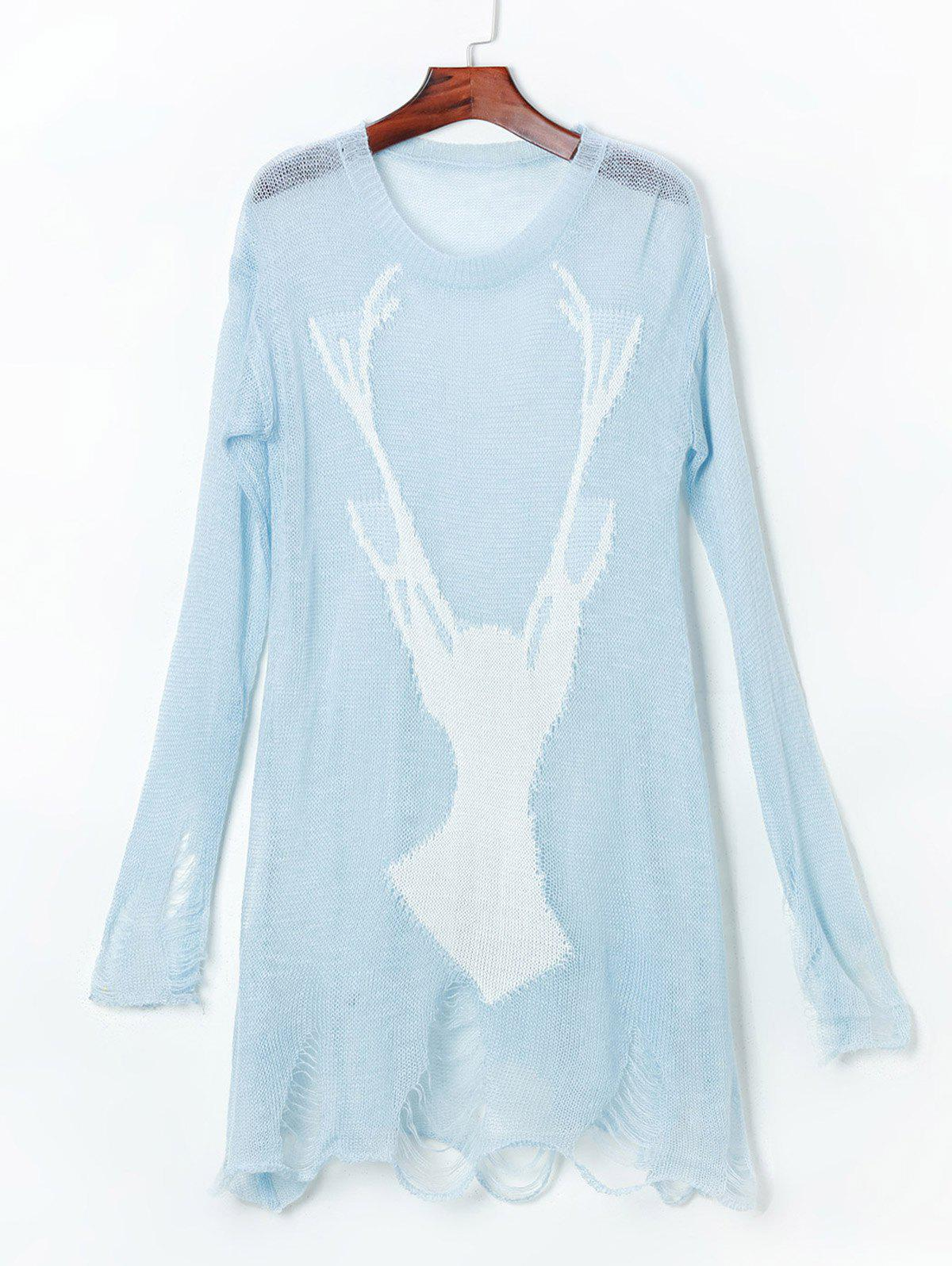Pull Long Fortement Usé - Bleu clair ONE SIZE(FIT SIZE XS TO M)