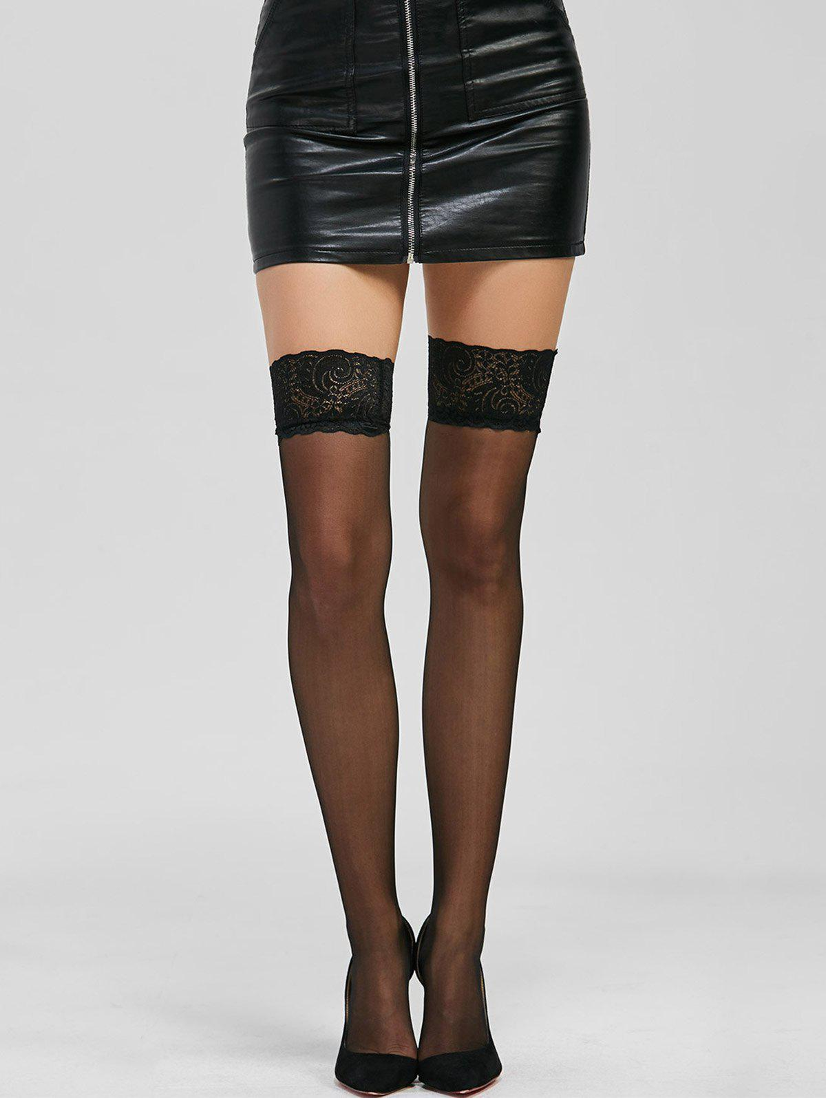 Lace Panel See Thru Plus Bas Knee - Noir ONE SIZE