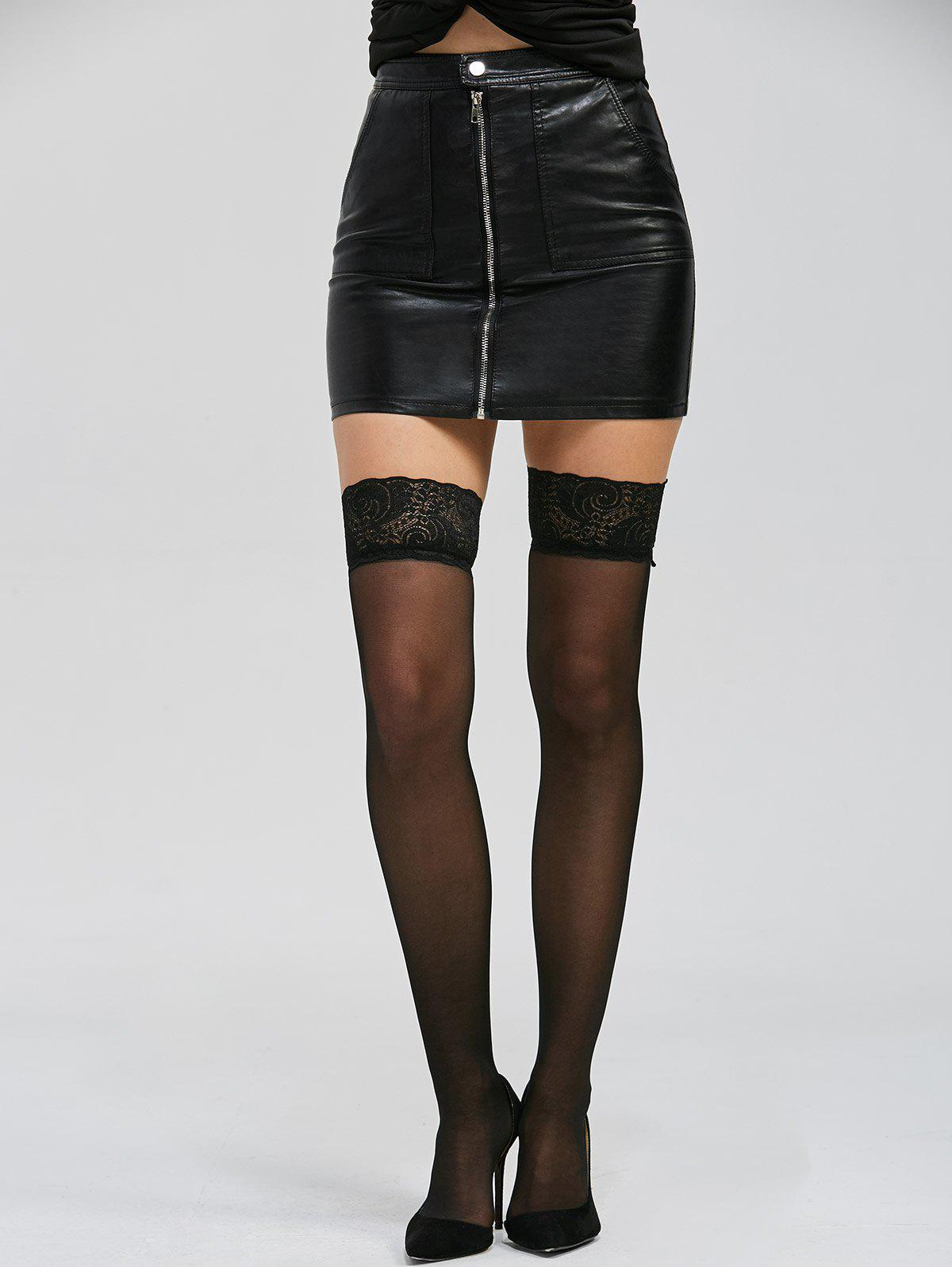 Over Knee Lace Panel See Thru Stockings - BLACK ONE SIZE