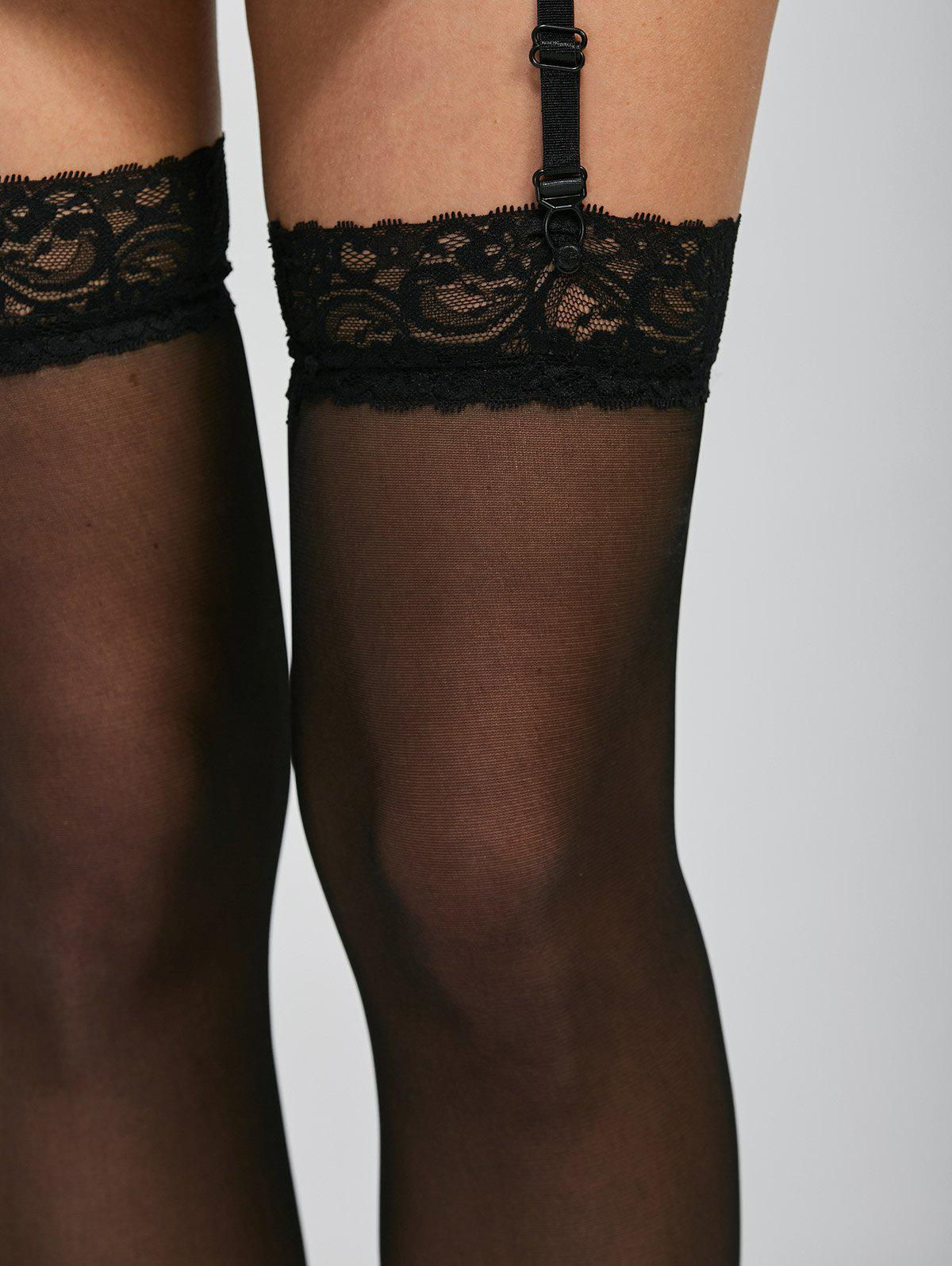 Lace Insert See Thru Over Knee Garter - BLACK ONE SIZE