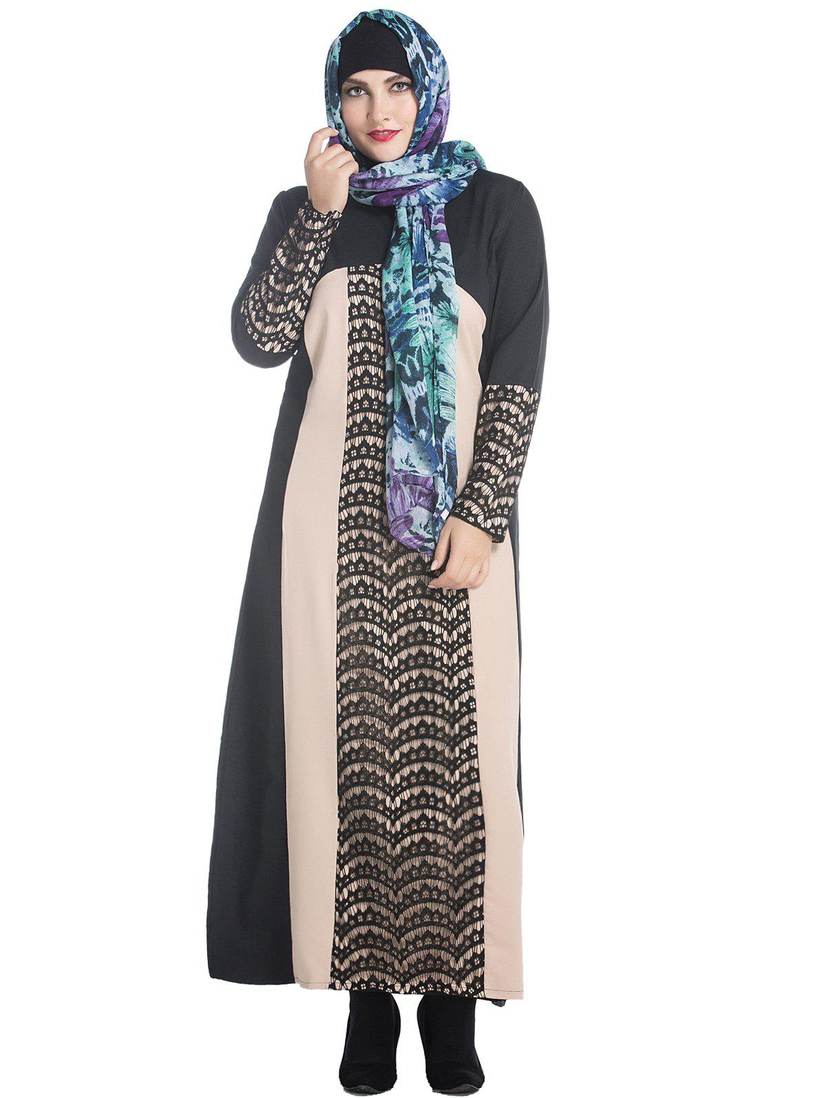 Plus Size Lace Panel Maxi Long Sleeve Dress - BLACK 2XL