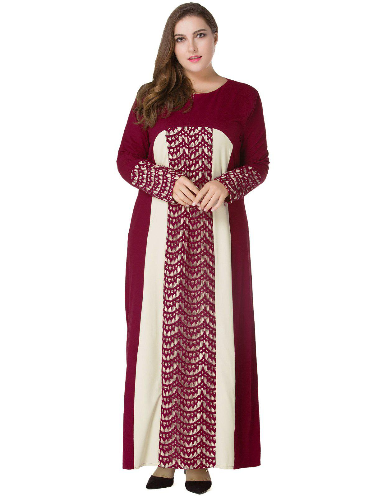 Plus Size Lace Panel Maxi Long Sleeve Dress - WINE RED 5XL