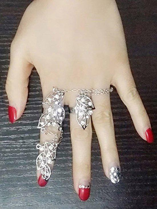 Rhinestone Foliage Ring - SILVER ONE-SIZE