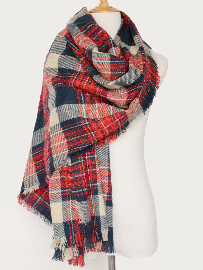 Plaid Pattern Oblong Shawl Scarf with Fringed бур sds fit 32916