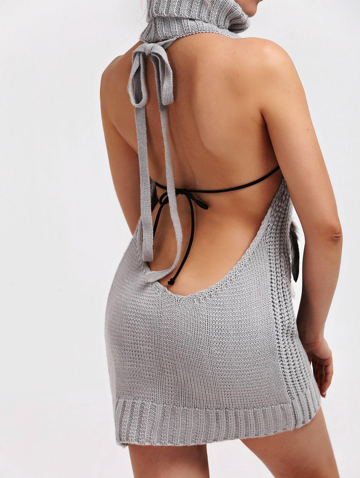 Backless Turtleneck Lace Up Jumper Dress - LIGHT GRAY M