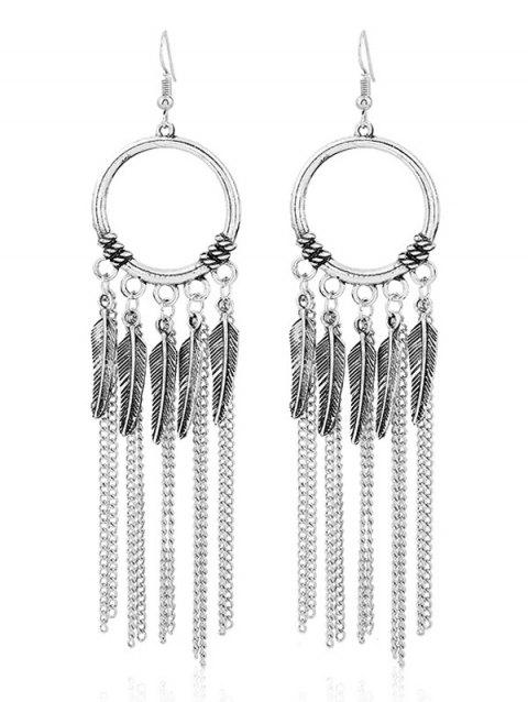 Leaves Fringed Circle Vintage Drop Earrings - SILVER