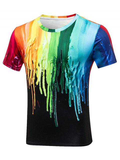 Crew Neck Paint Dripping T-Shirt - COLORMIX 2XL